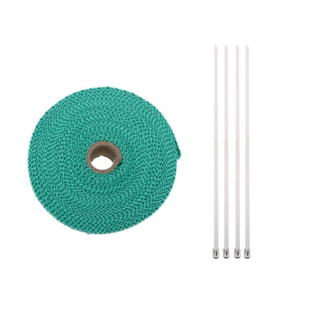 2Inch x 32Ft Fiberglass Manifold Header Exhaust Heat Tape Wrap Ties Green