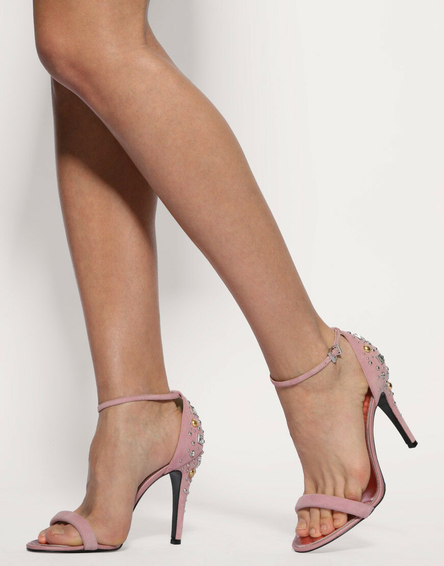 KAREN MILLEN Pink  Crystal Jewels Sandals Stiletto Heels FJ053 shoes UK 6