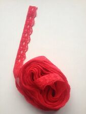 10 X Mtrs Of Pretty Cerise  Stretchy Lace Look Lace App 1//2 An Inch Wide