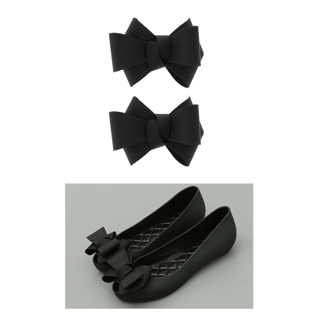2/pack Black Large Ribbon Bow Shoes Clips Women's Shoe Accessories Charm