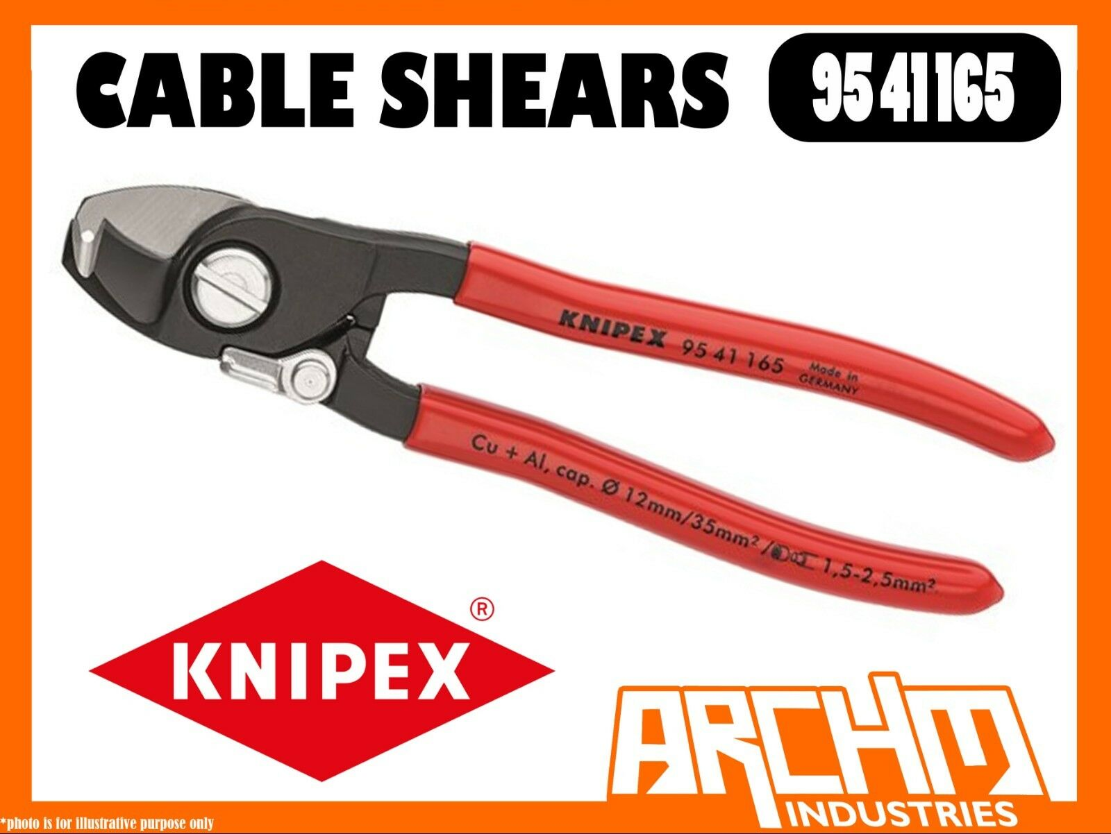 KNIPEX 9541165 - CABLE SHEARS - 165MM OPENING SPRING BOLT JOINT CUTTING HARDENED