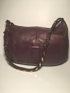 Leather Handbag Shoulder Bag Burgundy