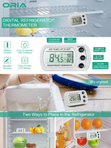 Refrigerator Thermometer Digital Kitchen Wireless Fridge Freezer Temperature