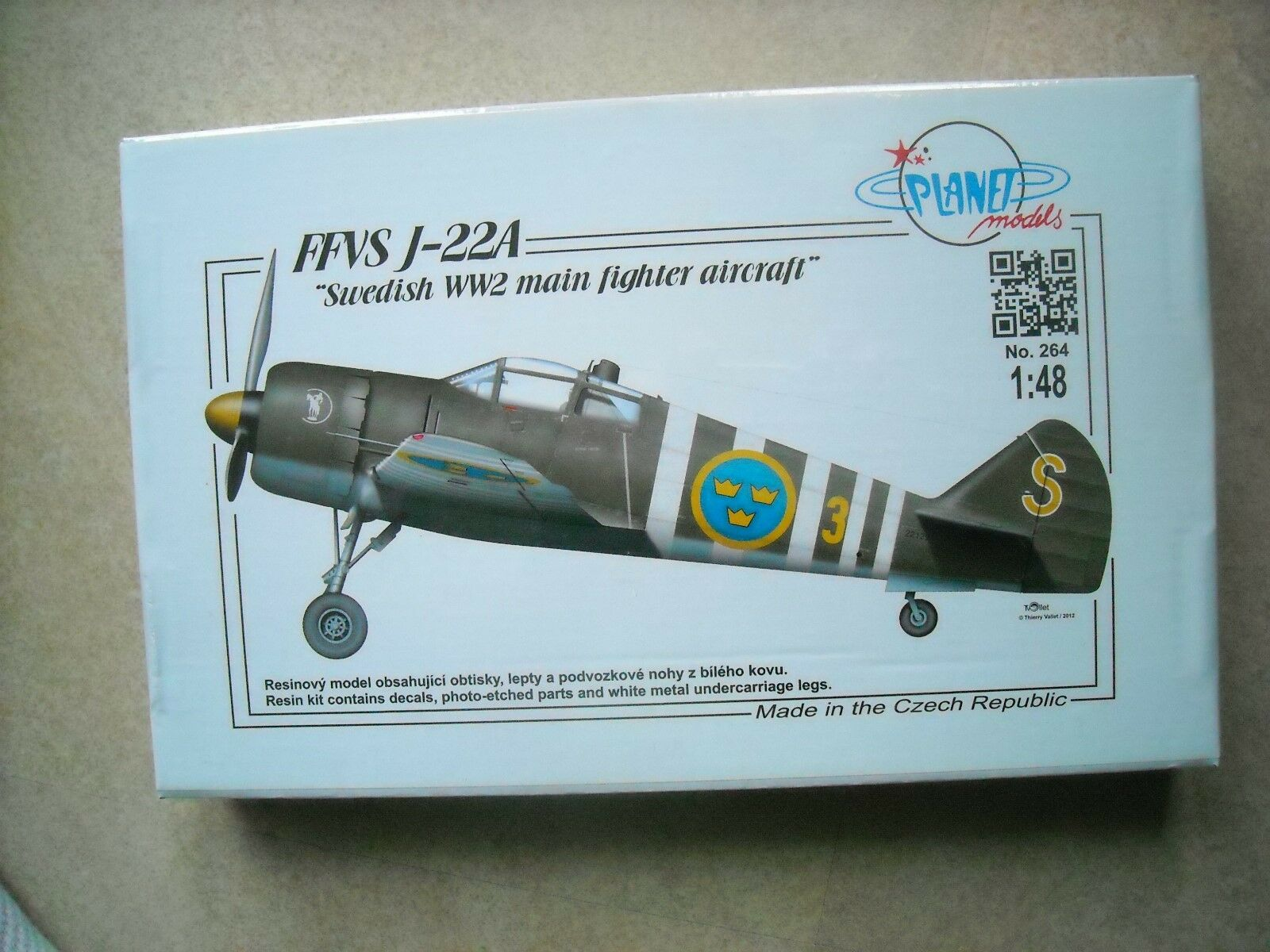 PLANET MODELS-1 48-FFVS J-22A SWEDISH MAIN FIGHTER AIRCRAFT