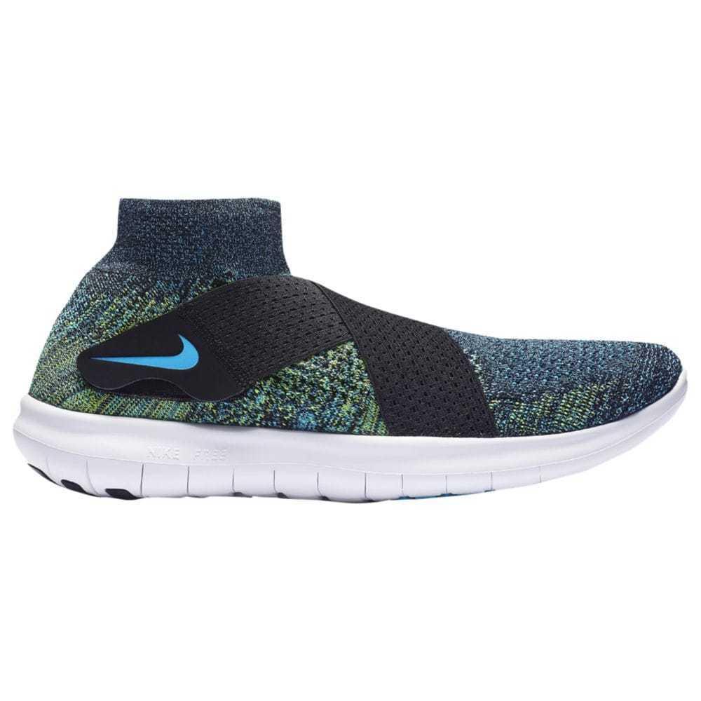 Nike Free RN Motion Flyknit 2017 Mens 880845-004 Black Volt Blue Shose Size 10.5
