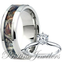 Mens Tungsten Oak Forest Mossy Camo Band Womens Sterling Silver Ring Wedding Set