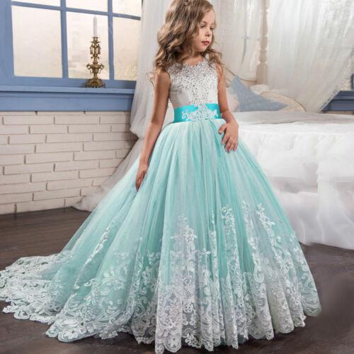NEU Blumenmädchen Spitze Abendkleid Ballkleider Brautjungfernkleid Partykleid