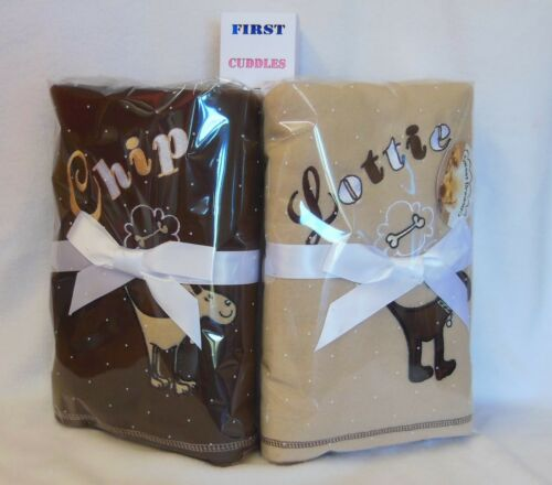 PERSONALISED  DOG//PUPPY BLANKET WITH YOUR DOGS NAME CHOICE OF COLOURS.