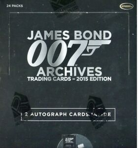 2015 JAMES BOND ARCHIVES BOX UNOPENED FACTORY SEALED 24 PACKS 2 AUTO/'S PER BOX
