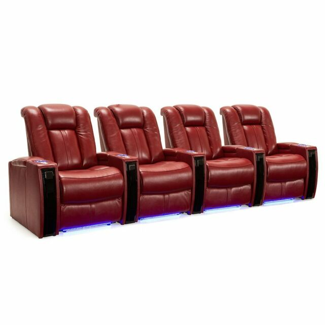 Wondrous Seatcraft Monaco Red Leather Home Theater Seating Chairs Power Recline Row Of 4 Pabps2019 Chair Design Images Pabps2019Com