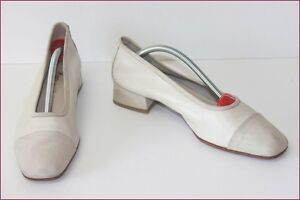 Escarpins-Tout-Cuir-Blanc-Casse-Made-In-Italy-T-41-TBE