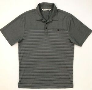 MENS-TRAVIS-MATHEW-GRAY-Striped-POLO-GOLF-SHIRT-SZ-M-SHORT-SLEEVE