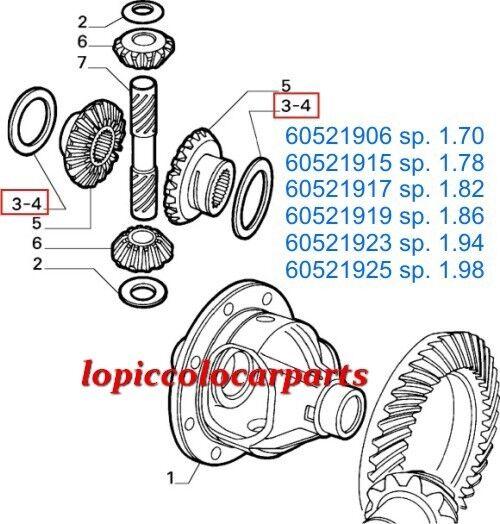 60521917 60506957 Spessore Registro Differenziale sp.1,82 Post Alfa 75 T.T. sp.1,82 Differenziale OR f642f7