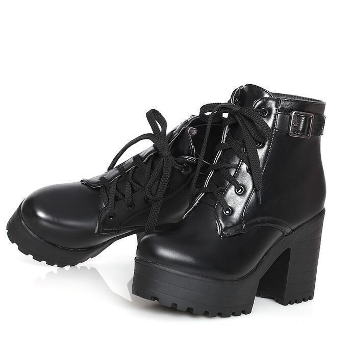 Fashion Women Chunky cleated Heel Platform Lace up Punk Gothic Ankle Boots shoes