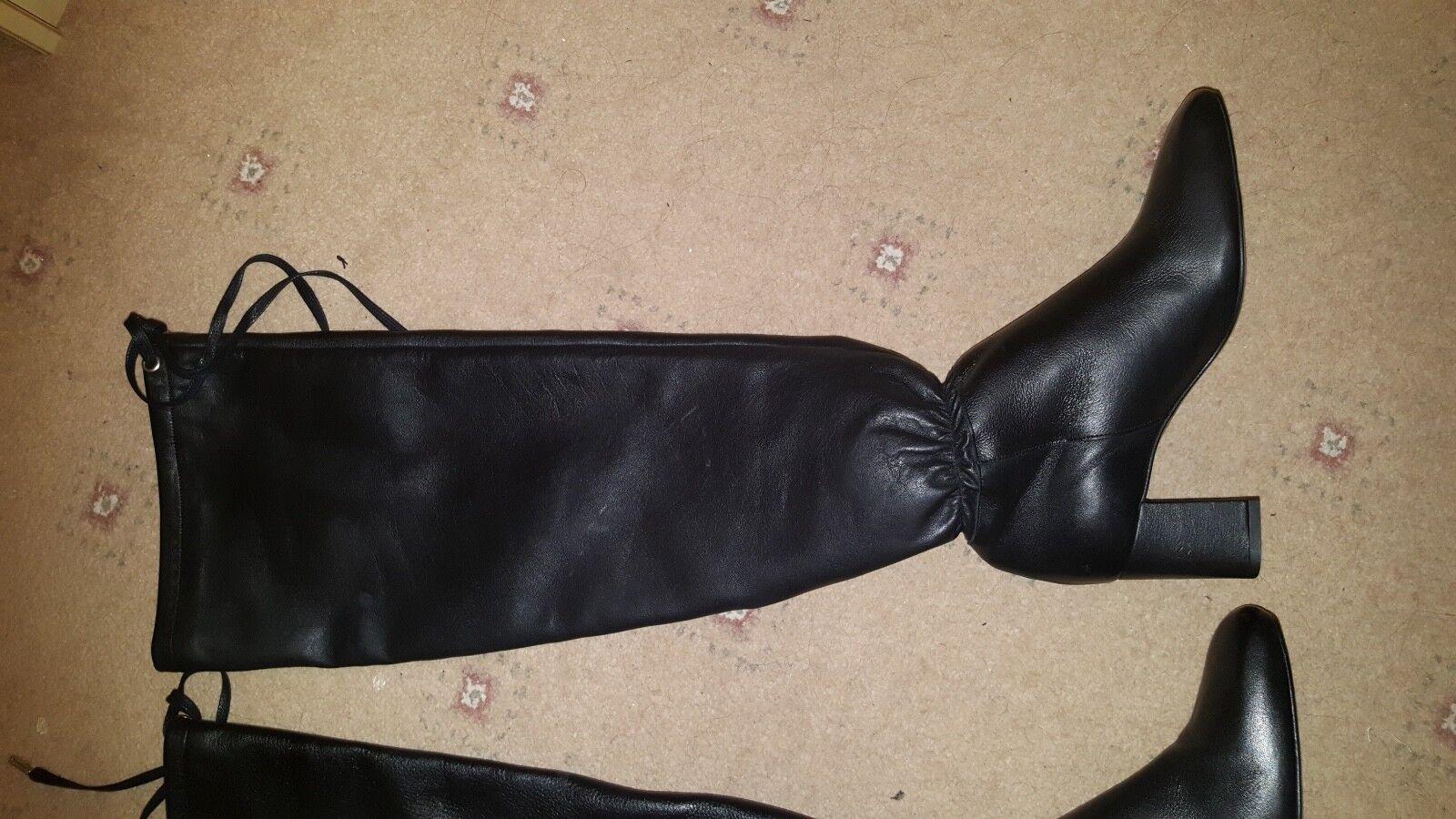 BNWT ZARA Negro Cuero Tacón Alto Zapatos botas de detalles reunidos Tacones