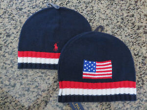 NWT Polo Ralph Lauren Big USA American Flag Sweater Knit Ski Beanie Hat