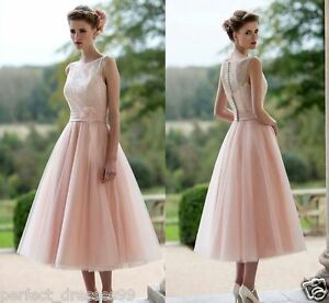 New-Lace-Tulle-Tea-Length-Wedding-Formal-Short-Bridal-Gown-Party-Dress-Size-6-18