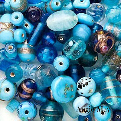 Wholesale 100* Lampwork Art Glass Beads Mix Sea Blue