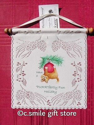 """Heritage Lace *Have a PURR'fectly fun Holiday* Wall Hanging 8"""" x 7.5"""" Off White"""