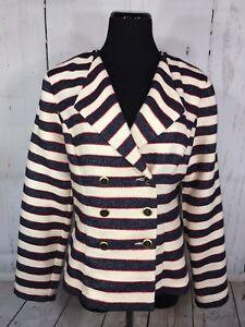 Blue Jacket Blazer Sailor Taglia Nautical Cruise 6 Cabi Red Nwt Stripe O1qHwFp
