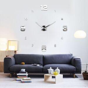 Wanduhr-Uhr-3D-Wandtattoo-Deko-Design-Spiegel-Edelstahl-Wand-Uhr-Gross-XXL-XL-C1
