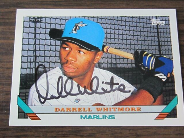 1993 Topps # 697 Darrell Whitmore Autograph / Signed Card Florida Marlins