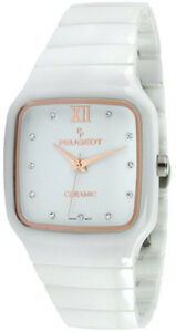 0cc1614dae057 Details about Peugeot Women s PS4899WT Square White Genuine Ceramic Watch