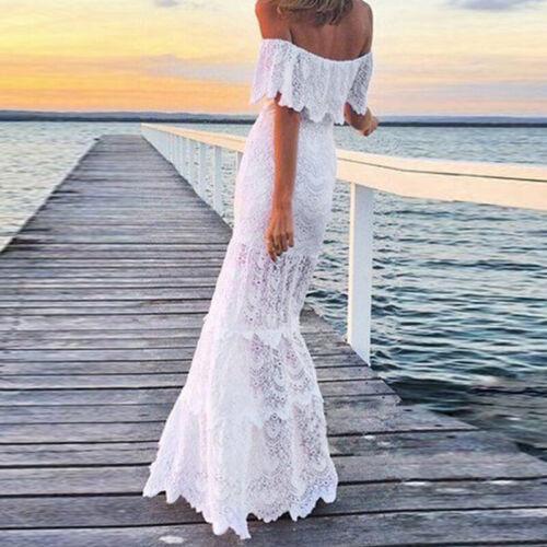 White Dress Summer Beach Sundress Ruffle Women Lace Off shoulder Maxi Evening