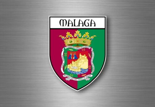 Sticker decal souvenir car coat of arms shield city flag spain malaga