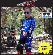 MOTOCROSS MX BMX OUTFIT(Pants+Jersey) Kids Youth Junior Dirt Bike Gear - BLUE