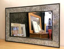 Diseño craquelado Espejo De Pared Marco Negro Mosaico Cristal 90x60cm Nuevo Hecho A Mano