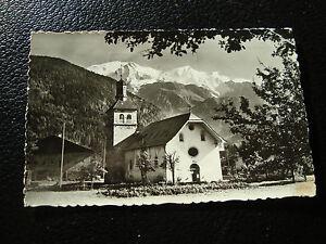 Francia-Tarjeta-Postal-1963-Servoz-La-Iglesia-y-Cadena-Del-Monte-Blanco-cy50