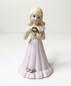 Vintage Enesco 1981 Birthday Growing Up Girls Age 9 Blonde Porcelain Figurine