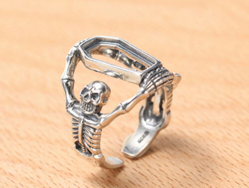 7.7*14.7mm 925 STERLING SILVER  skull Base Blanks Pad ring Setting Jewelry P2047