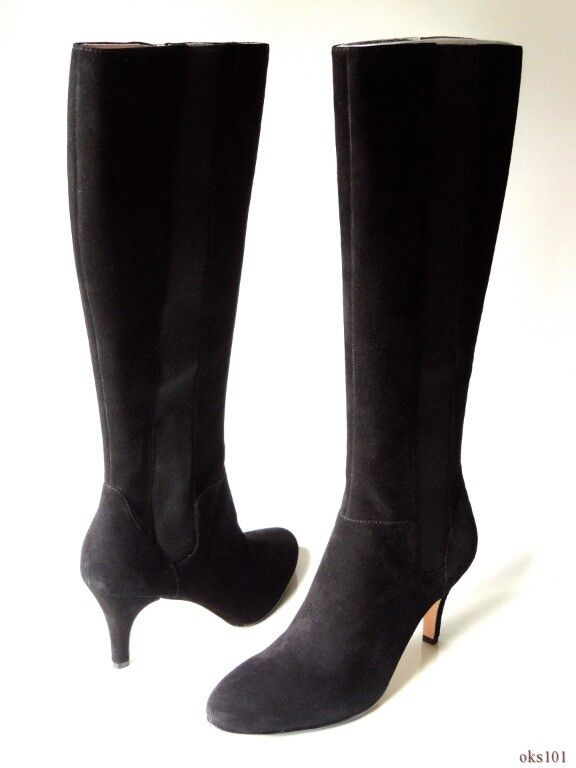 New TARYN Rosa 'Theresa' schwarz suede stretch zipper TALL Stiefel 8 - classic