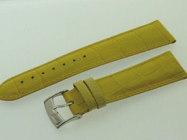# L332 # Uhrenarmband Leder Juwelier QualitÄt 22 Mm Sonnen-gelb Naht Kroko-optik