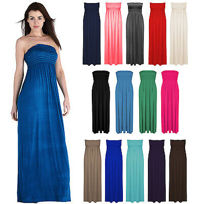 Womens Plain Bandeau Boobtube Strapless Sheering Summer Maxi Long Dress Top 8-26