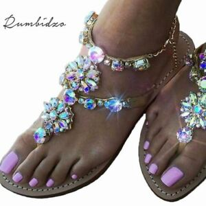 Strass Flache Sandalen Kette Schuhe Sandalias Kristall Thong Frauen Fli Ferse qXpU7ww