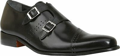 Giorgio Brutini CARBONNE Mens Black 200131 Monk Strap Dress Shoes