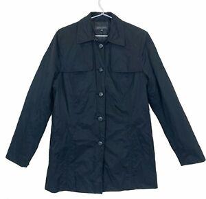 Sportscraft Womens Black 5 Button Lined Crush Finish Trench Jacket Size 12