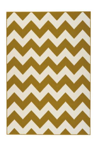 Teppich Zick Zack Muster Scandi Design Teppiche Elfenbein Creme Gelb