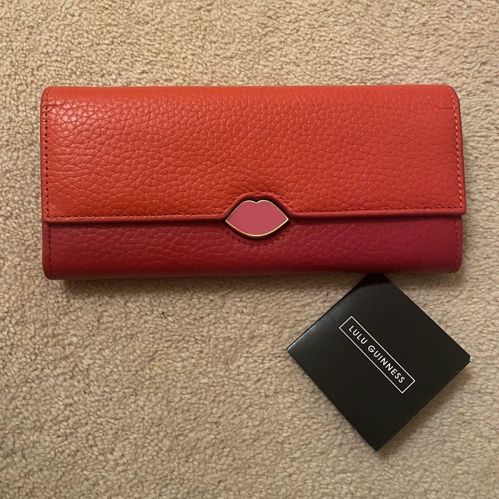 Lulu Guinness Lipstick Lock Cora Wallet Purse BNIB Orange & Red Pink Lip Detail