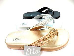 a352dd2404c8 LADIES WOMENS NEW ELLA TOE POST SANDALS GLITTER SPARKLY FLIP FLOPS ...