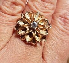Gorgeous Hand Carved Flower VS Diamond 14k yellow gold ring