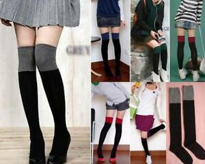 AU-SELLER-Cotton-Twotone-stockings-Over-The-Knee-High-hos051