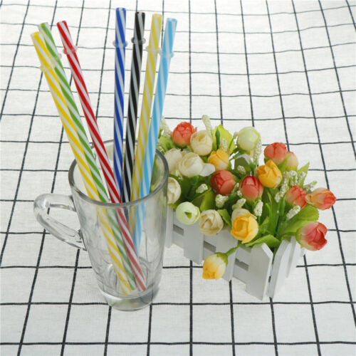 6pcs Two Colors Thread Pattern Reusable Plastic Thick Drinking Straws US