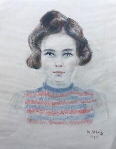 Max-Ulvig-1913-1969-Zeichnung-Portraet-Huebsches-junges-brunettes-Maedchen
