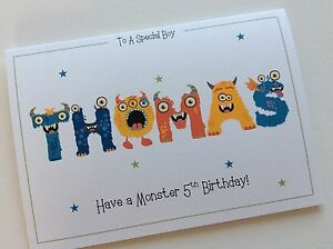 Handmade Th Birthday Cards Son ~ Personalised handmade monster name birthday card son brother