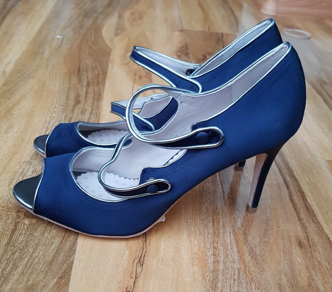 BODEN LADIES Cordelia NAVY Print Satin High Heel Shoes EU 41 UK 7.5 BRAND NEW.