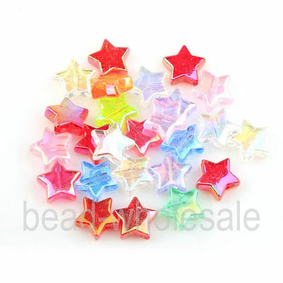 100pcs Star Shape Acrylic AB Color Spacer Beads 11*4mm Random Color